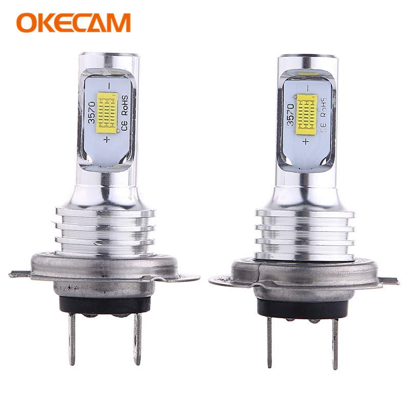2Pcs H7 H3 LED Bulb Super Bright <font><b>2</b></font> 3570SMD Car <font><b>Fog</b></font> Lights 12V 24V 6000K White Driving Day Running <font><b>Lamp</b></font> Auto image
