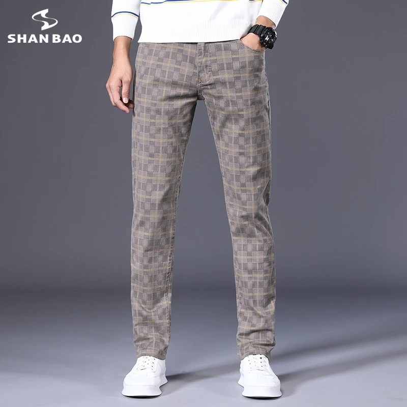 SHAN BAO 2021 Summer and Autumn Cotton Stretch Brand Plaid Pants Classic Style Youth Men's Fitted Straight Casual Pants 6 Colors