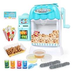 Kinderen Gesimuleerde Automaat Puzzel Drankjes Popcornmachine Popper Speelgoed Pretend Toy Set Met Geluid en Licht
