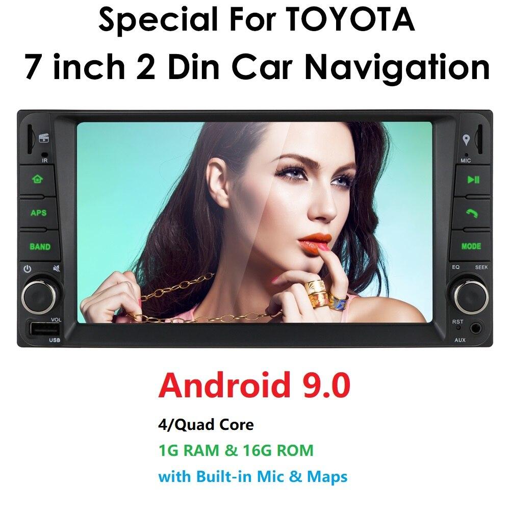 "7"" Android 9.0 4 Core 2Din Car Media Player for Corolla Toyota RAV4 Hilux Fortuner Innova Prado No DVD Wifi 4G OBD2 bluetooth(China)"
