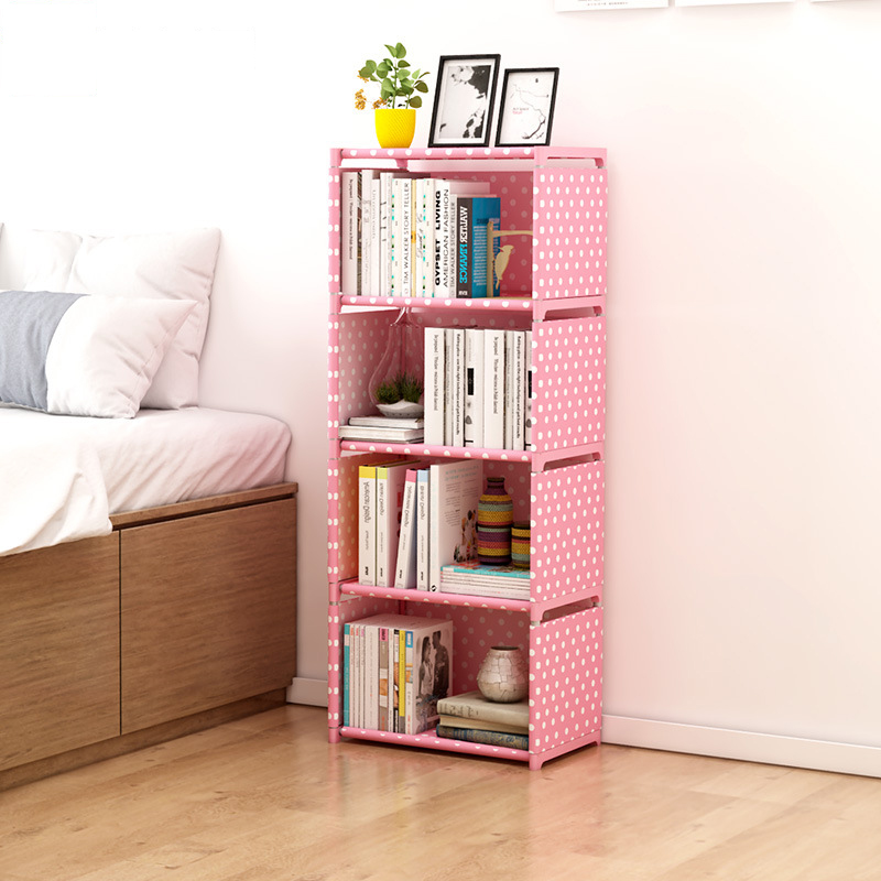 Multi Layer Simple Bookshelf Nonwoven Corner Book Sundries Storage Rack Can Be Moved Bookcase Creative Modern Home Decoration