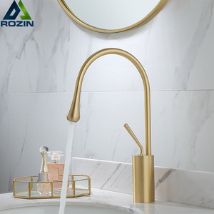 Image 1 - Brushed Golden Basin Faucet Single Lever 360 Rotation Spout Brass Mixer Tap For Kitchen Hot Cold Water Bathroom Basin Water Sink