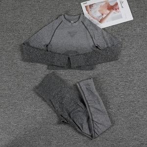 Image 3 - Senza Soluzione di Continuità Leggings Gradiente + Lungo di Yoga Del Manicotto Set Delle Donne Crop Top a Vita Alta Dei Pantaloni di Sport di Palestra Abbigliamento Ombre di Allenamento Sportivo vestito