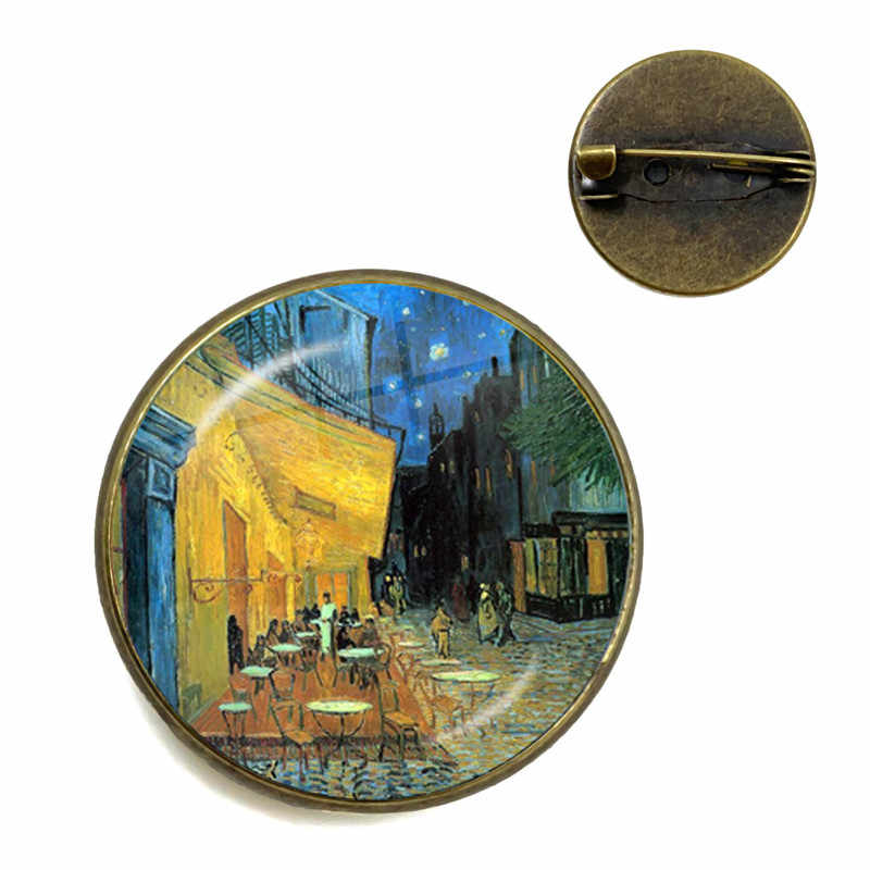 Retro Van Gogh Art Starry Night Sunflower Brooches 20mm Glass Cabochon Dome Jewelry School Bag Bronze Brooch Pins For Women Men