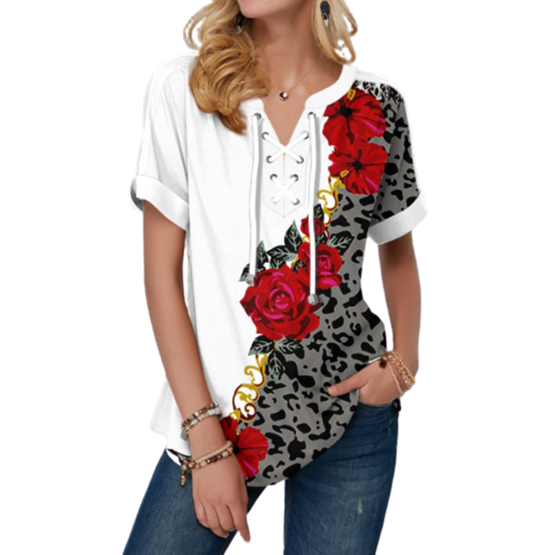 New Summer Women Blouses 3D Print Tie Dye Gradient Tops Casual Short Sleeve V-Neck Lace Up Oversize Shirt 5XL Loose Tops 8