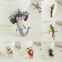 Rinhoo 1 قطعة سيكا الغزلان الفيل الحيوان الحشرات نمط سبيكة اللوحة حجر الراين بروش للنساء خاتم هدايا مجوهرات أنيقة