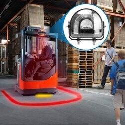 5.4 Cal LED wózek widłowy Arch światło bezpieczeństwa czerwony 25W DC10-80V ostrzeżenie o bezpieczeństwie światło Arc strefa bezpieczeństwo z żółtym światła stroboskopowe