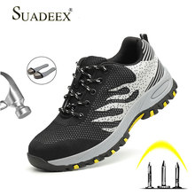 SUADEEX Work Boots Men Safety Shoes Unisex Mesh Sneakers High Quality Steel Toe Male Plus Size 35-46