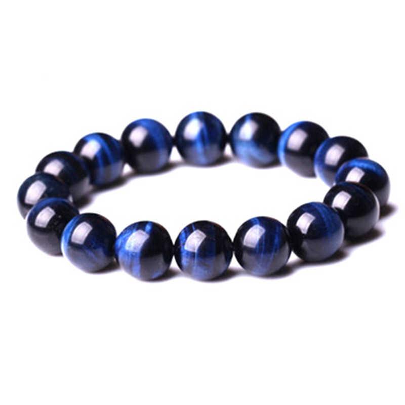 Bracelets bouddha en œil de tigre bleu de haute qualité perles rondes en pierre naturelle bracelet élastique pour hommes et femmes