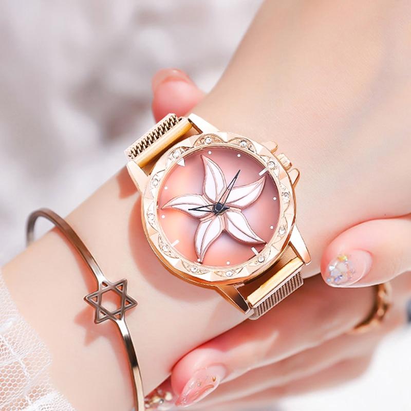 Womens Rose Gold Mesh Magnet Buckle Star Quartz Watch Milan With Top Brand Watch Geometric Surface Pentagram Pattern Watch Clock