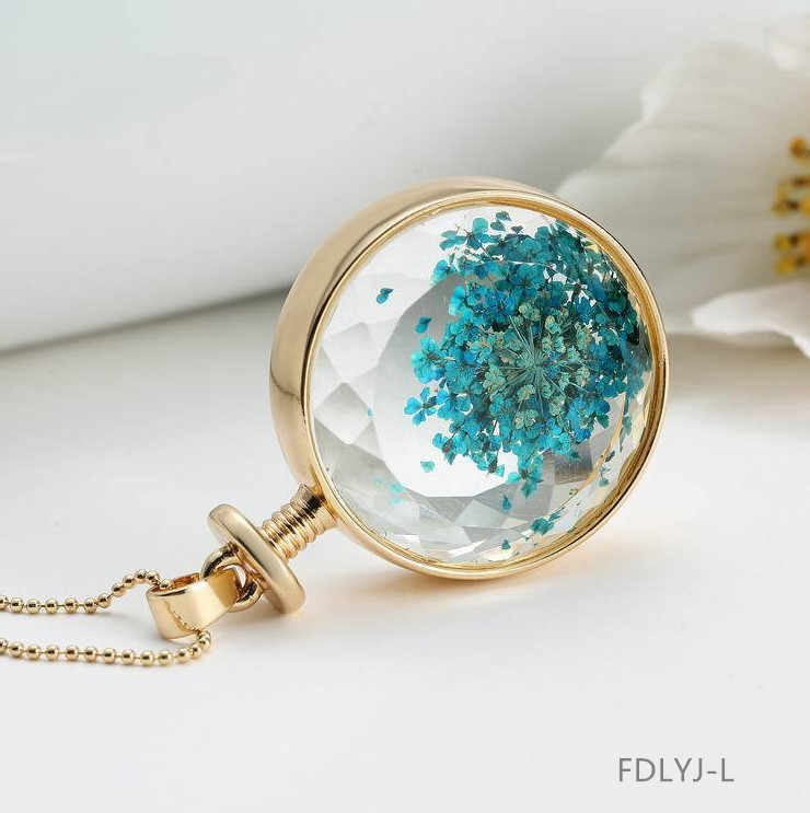 Round Flower Colorful Necklace Pendant Elegant Fashion Women Jewelry Girl Gifts Chain