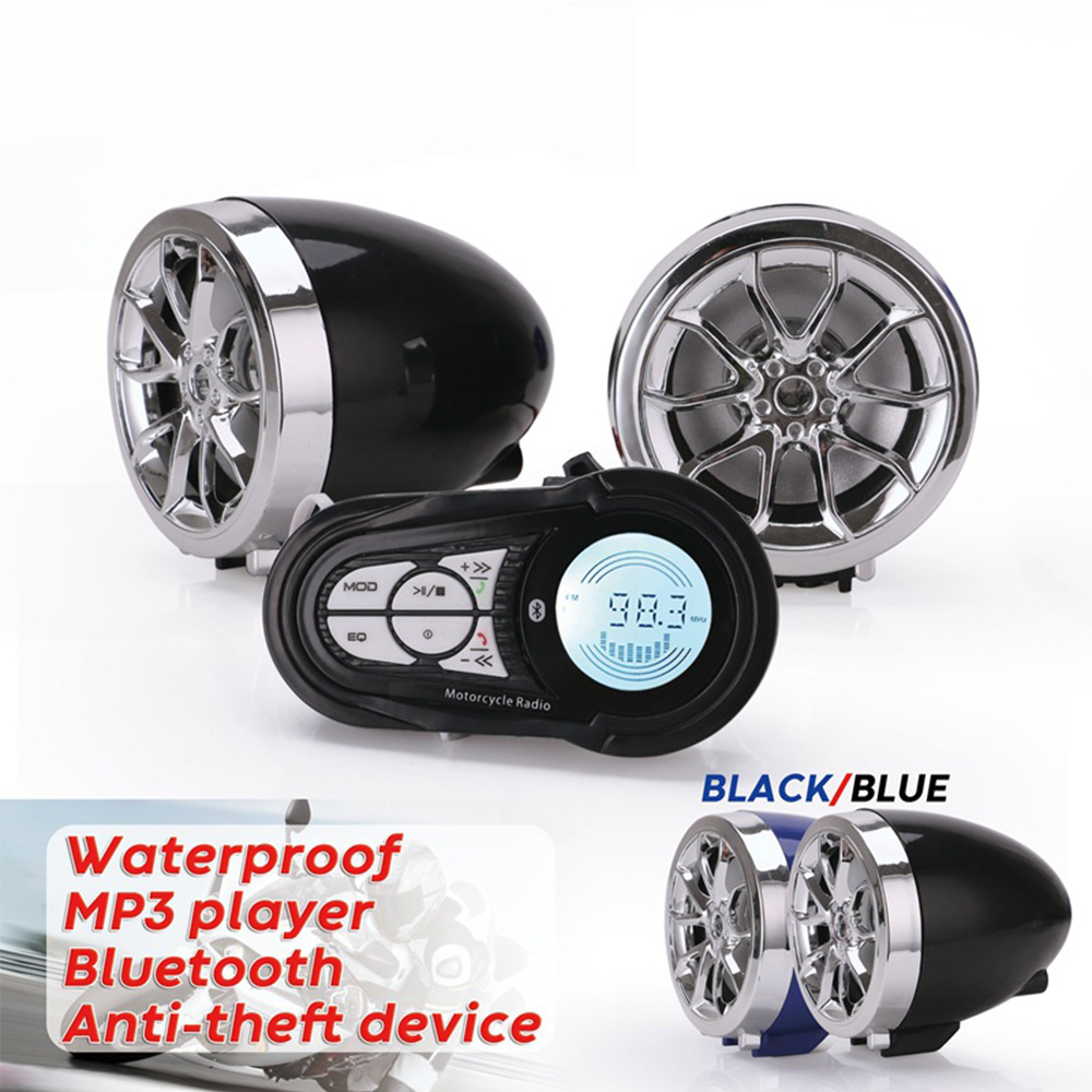 Waterproof Bluetooth Motorcycle Stereo Amplifier Speakers Handlebar Mount Audio Amp System For Harley ATV UTV RZR, AUX, FM Radio