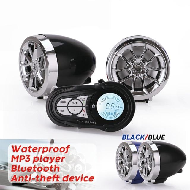 Waterproof Bluetooth Motorcycle Stereo Amplifier Speakers Handlebar Mount Audio Amp System for Harley ATV UTV RZR, AUX, FM Radio