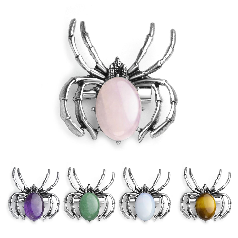 Spider Pendant Necklace Women's Healing Crystal Pendant Balance Chakra Stone Meditation Witchcraft Jewelry Jewelry