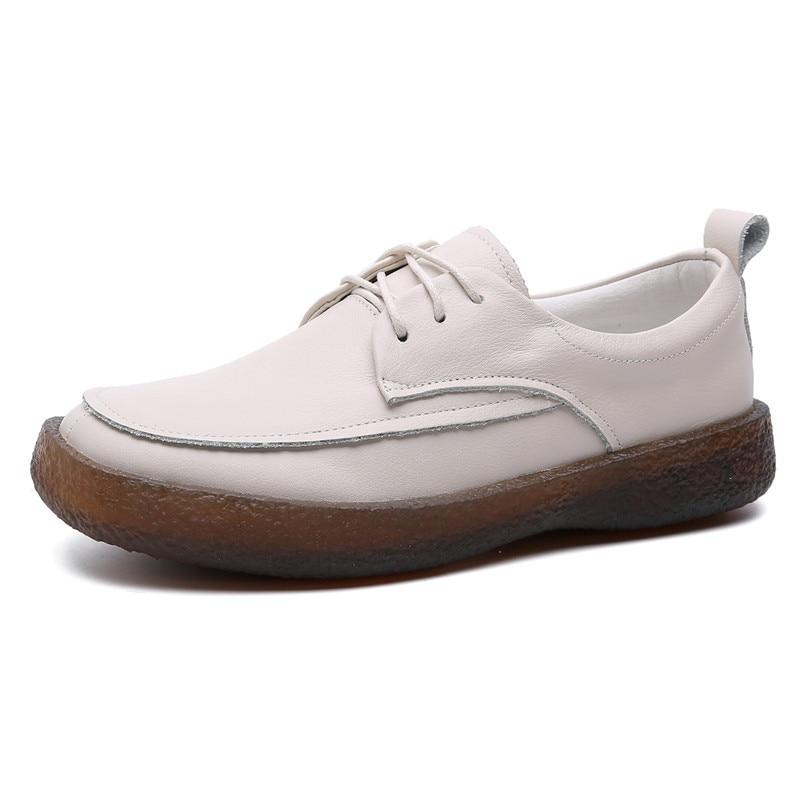 Femmes mocassins doux en cuir véritable chaussures plates femmes blanc automne à la main en cuir paresseux chaussures appartements sans lacet noir mocassin femmes - 4