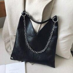 Sacos de ombro de couro do vintage para as mulheres 2019 corrente designer senhora crossbody saco feminino fresco alta capacidade bolsas cor sólida