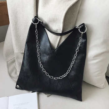 Vintage Leather Shoulder Bags For Women 2019 Chain Designer Lady Crossbody Bag Female Cool High Capacity Solid Color Handbags - DISCOUNT ITEM  40% OFF All Category