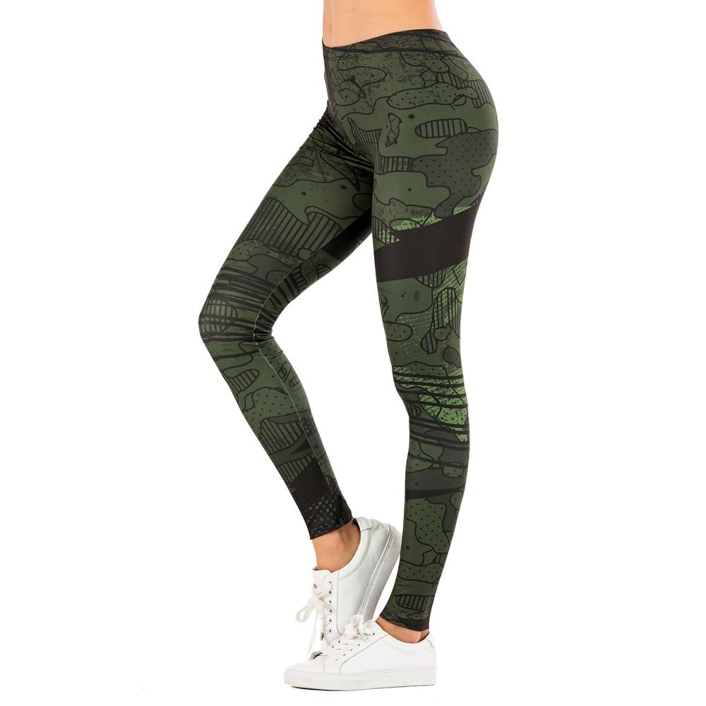 Brand Sexy Women Legging leaf Printing Fitness leggins Fashion Slim legins High Waist Leggings Woman Pants 17