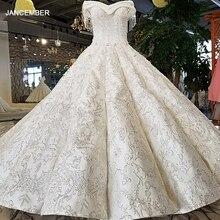 LS96120 100% gerçek kapalı omuz kısa kollu gelinlik trouwen korse geri gibi beyaz saten kumaş kraliyet tasarım düğün elbisesi