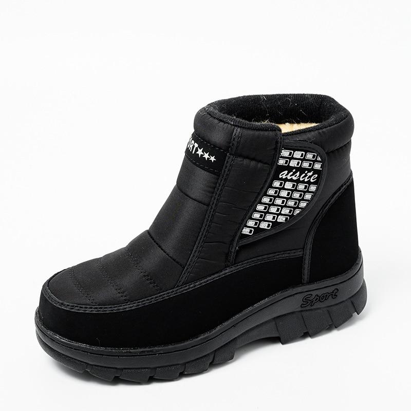 Зимние теплые ботинки на толстой подошве для пары уличные повседневные
