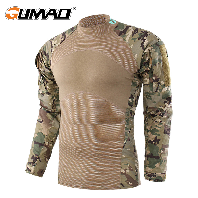 Multicam Camouflage Military Tactical Combat T-Shirt Men Force Camo Army Long Sleeve Shirt Hiking Climbing Shooting Paintball
