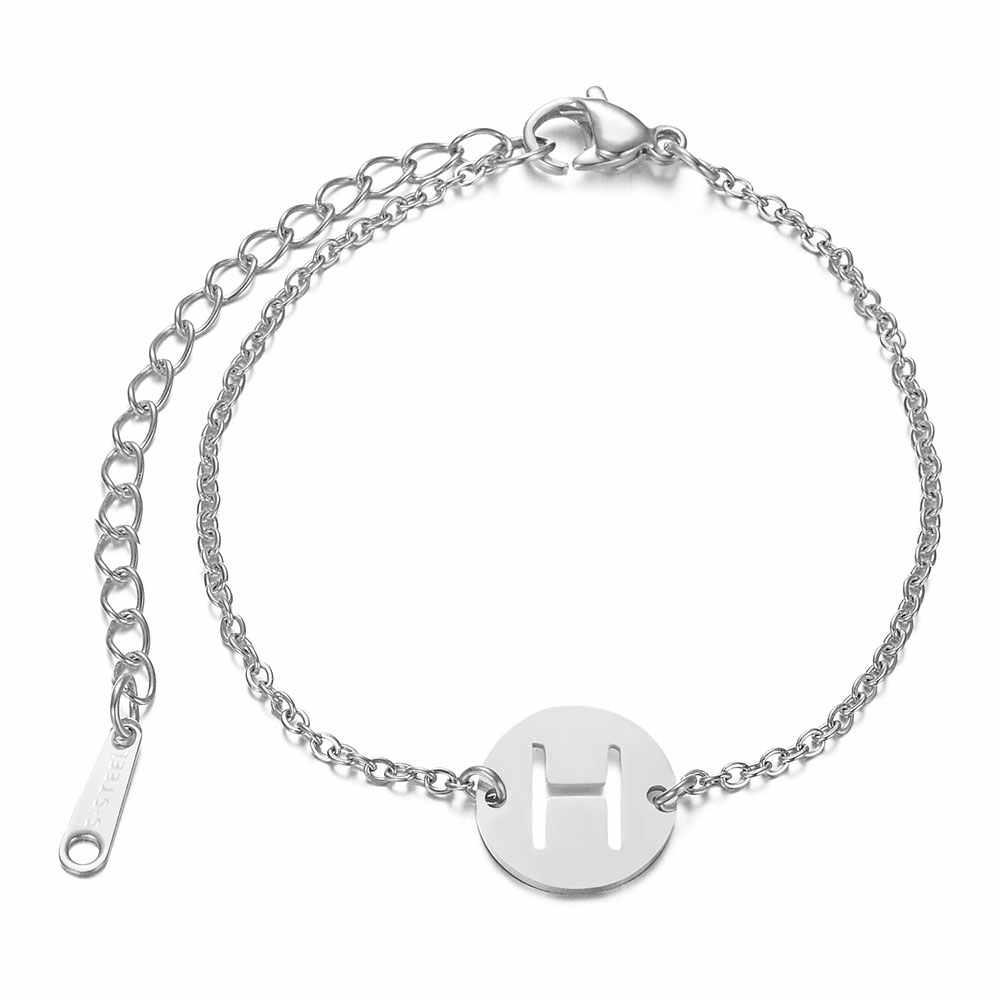 Inicjały ze stali nierdzewnej 316L bransoletka z imieniem od A-Z 26 inicjały litery srebrny i złoty łańcuszek Femme prezenty dziewczyny 20cm