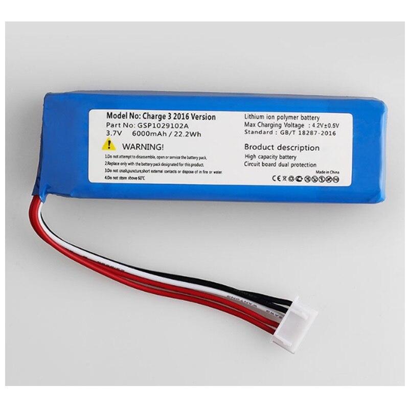 Аккумулятор 6000 мАч для JBL Charge 3 2016 версия плеера li-po полимерный перезаряжаемый аккумулятор Замена 3,7 V GSP1029102A