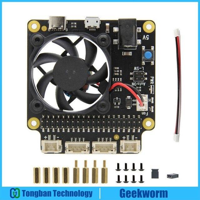 ラズベリーパイ 4 モデルb X735 電源管理 & 自動冷却拡張ボード安全なシャットダウン 5v最大、 8A出力ラズベリーパイ