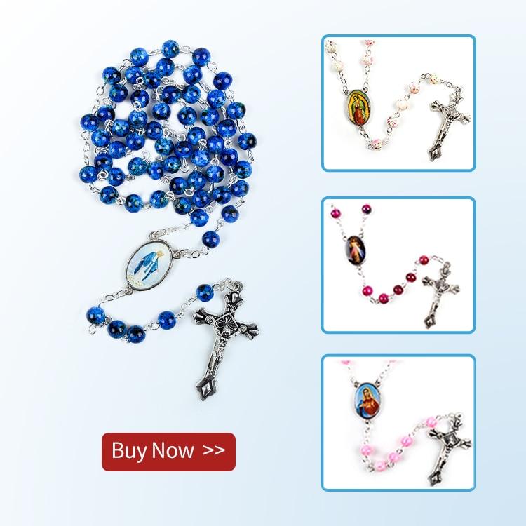 Cattolica Rosario di Piccola Dimensione Rotonda Perline di Vetro Blu Vergine Maria Gesù Collana Delle Donne 2