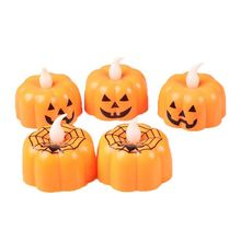 12Pcs Pumpkin Battery Operated LED Electric Candle Light Flameless Tealights Flickering Home Halloween Festival Party Decoration