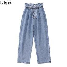 Nbpm 2021 moda com botão cinto jeans baggy mulher de cintura alta streetwear meninas perna larga calças jeans calças mujer mãe denim
