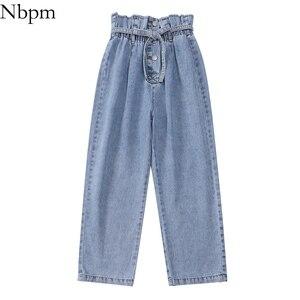 Nbpm 2021 модные мешковатые джинсы на пуговицах с поясом, женская уличная одежда с высокой талией, джинсы для девушек с широкими штанинами, брюк...