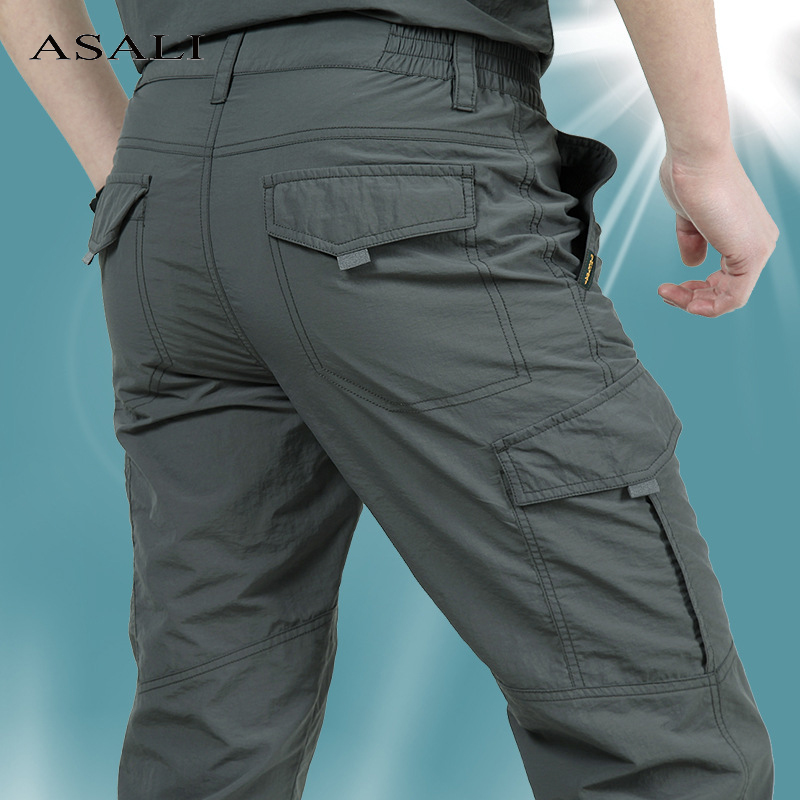 Thin Army Military Pants Tactical Cargo Trousers Men Waterproof Quick Dry Breathable Pants Male Casual Slim Bottom Trouser 4XL
