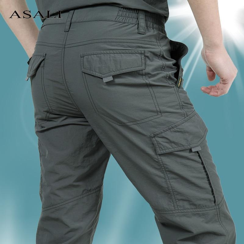 Брюки-карго мужские тонкие армейские, тактические штаны в стиле милитари, водонепроницаемые быстросохнущие дышащие, повседневные облегающ...