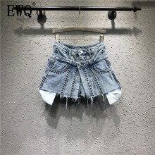 [EWQ] 2020 אביב קיץ חדש להג טלאי ג ינס מזויף שתי חתיכה עבודה כבדה חרוזים קצה גבוה מותן Loose מכנסיים קצרים AG02605XL