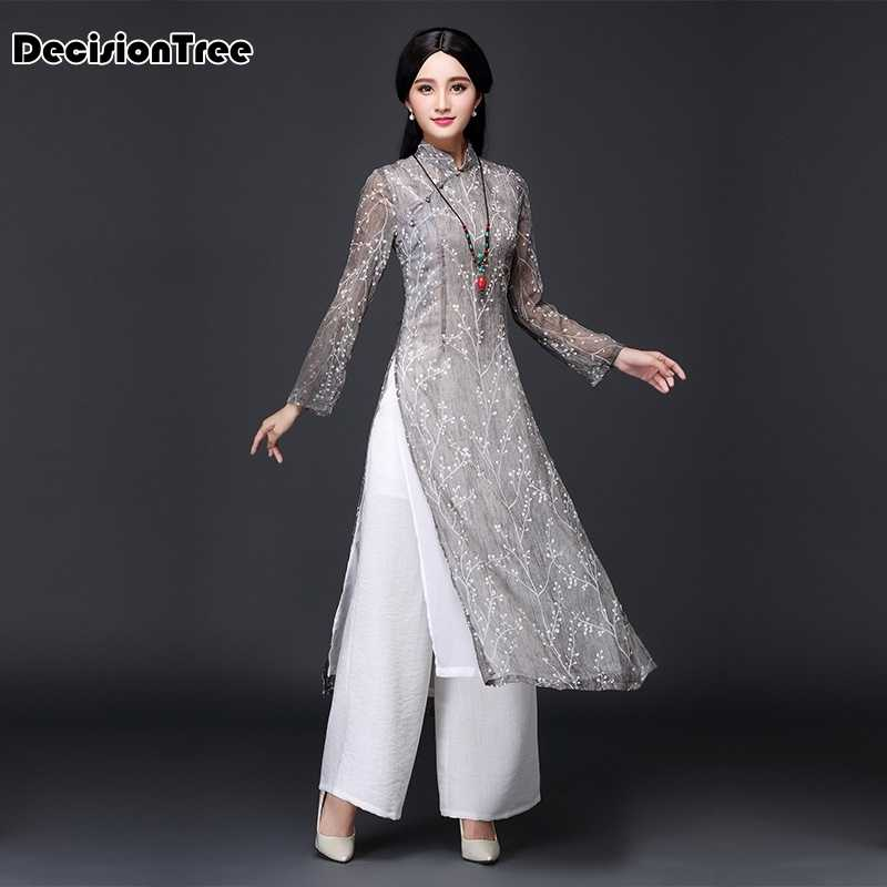 2020 ao dai red style ao dai vintage ethnic aodai long sleeve qipao women silk long cheongsams dress for party