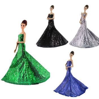 Elegant Sequins Long Dress Outfit Set for Barbie 11 Inches  BJD FR SD Doll Clothes Dollhouse Roll Play Accessories accessories new 11 5 12 doll clothes long tail evening party wedding party lace dress gift present for barbie outfit costumes