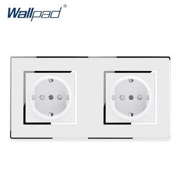 Panel de acrílico doble de 2 toma de corriente de Pin para pared, Panel de acrílico para salida eléctrica de lujo con espejo, estándar europeo y alemán de 16a AC 110 ~ 250V, marca Schuko