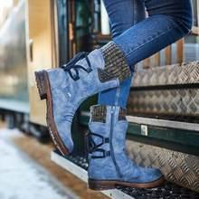 Damen Schnee Stiefel Pelz Futter Winddicht Schuhe Retro Wolle Stiefel Mit Dicken Ferse Riemen Für Frauen