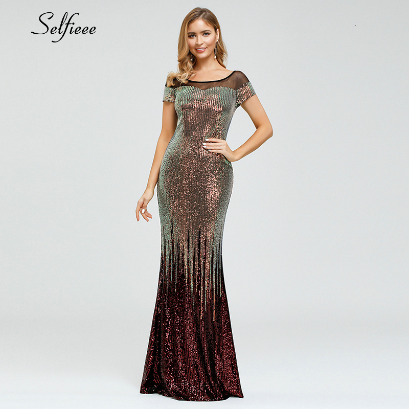 Sparkle Bodycon Dress Women Sequined O-Neck Mermaid Short Sleeve Luxury Maxi Dress Ladies Sexy Formal Party Dress Robe Femme