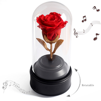 Beauty And The Beast Forever Rose In Glass With Immortal Rotative Music Box Birthday Flower Valentine's Day For Girlfriend