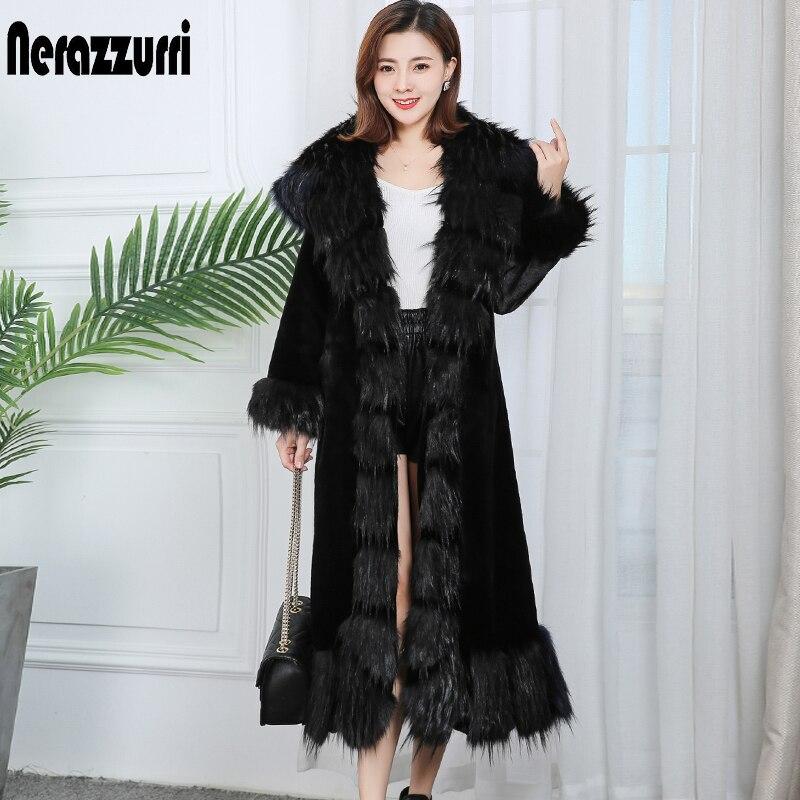 Nerazzurri Plus Size Long Faux Fur Coats For Women 4xl 5xl 6xl 7xl Thick Warm Purple Black Faux Fur Coat Women With Fox Fur Trim
