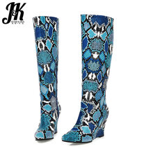 JK Colorful Snake Skin Pu Boots Women Knee High Boot Ladies Round Toe Shoes Female High Heels Wedges Shoes Shoes Winter 2020 New(China)