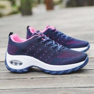 Image 5 - Mulheres sapatos esportivos almofada de ar tênis respirável mulher tênis caminhada ao ar livre jogging formadores voando tecelagem lazer