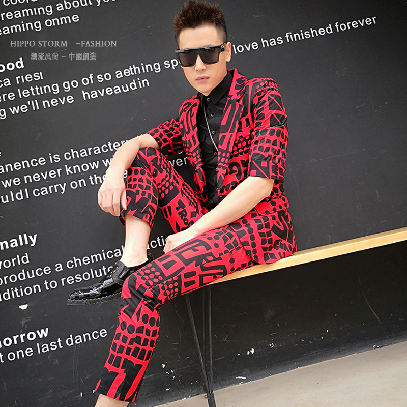 Red Letter 2pcs Slim Fit (jacket+pant) Male Fashion Print Blazer Men Suit Set Stage Show Singer Dj Costume Homme
