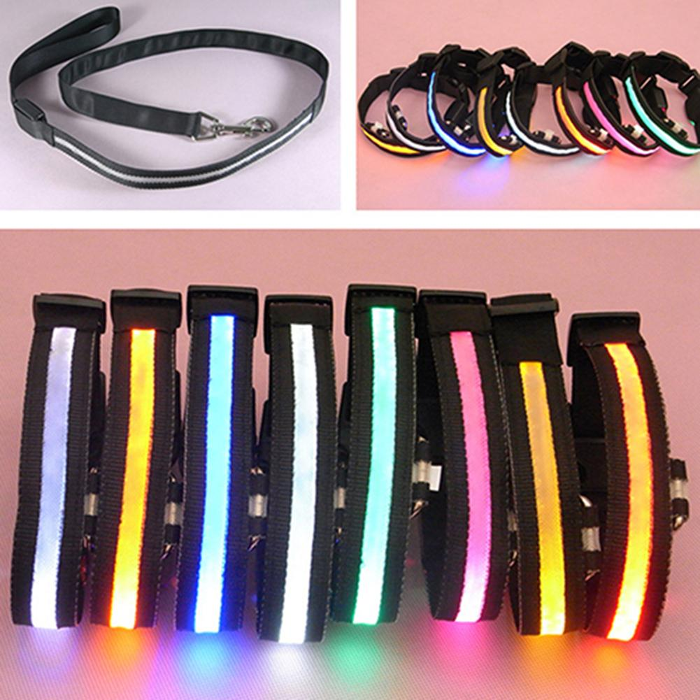 Pet Dog Puppy Nylon Glow in the Dark Collar LED Light Soft Adjustable Neck Strap Pet Harnesses Leads Dog Supplies