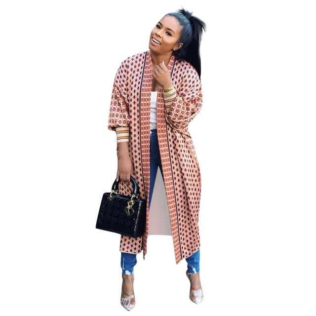 Leopard Printed Long Trench Coats Long Sleeves V Neck  Mid Calf Lady 3