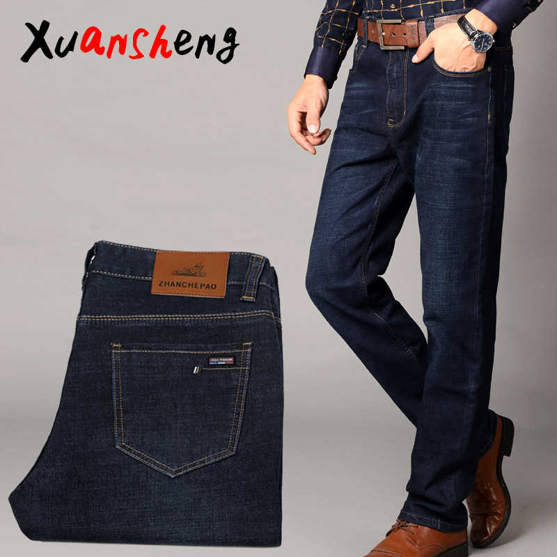 XuaSheng straight men's jeans 2019 classic fashion black streetwear clothing loose fat legs stretch comfortable long pants jeans
