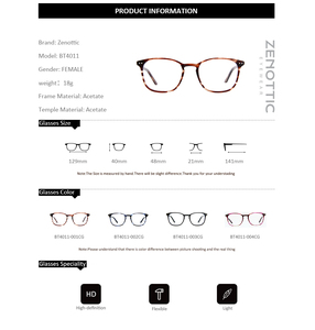 Image 5 - ZENOTTIC Retro Acetate Square Glasses Frames for Women Men Unisex Myopia Optical Eyewear Frames Prescription Eyeglasses