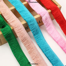 Linha de decoração de 1m, grossa, de poliéster, com franja, para decoração de roupas, fita colorida, 2.8cm, rosa, branco, preto e cinza verde verde
